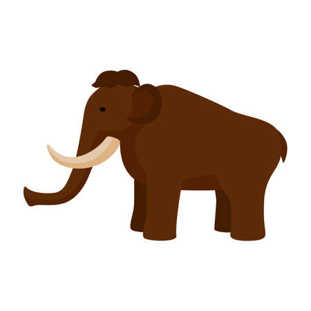 Mammoth isolated on white background. Prehistoric animal in flat style kids picture vector illustration.