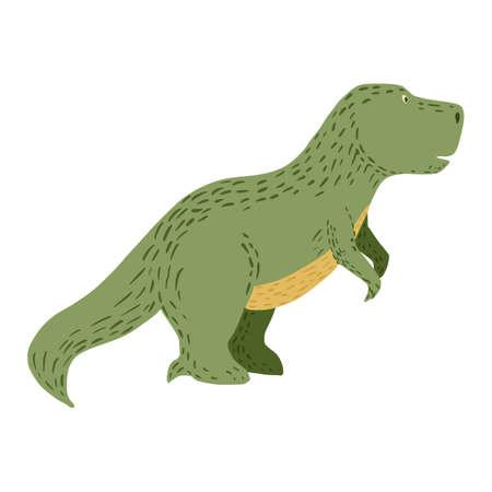 cute dinosaurs on white background. Fantasy animals jurassic tyrannosaurus in doodle vector illustration.