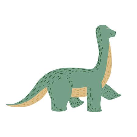 Cute brachiosaurus isolated on white background. Dinosaurs jurassic cartoon in doodle vector illustration. Ilustração