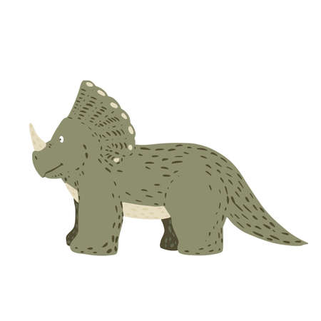 Cute triceratops isolated on white background. Dinosaurs jurassic cartoon in doodle vector illustration. Ilustração