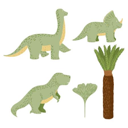 Set cute dinosaurs on white background. Fantasy animals jurassic tyrannosaurus, triceratops, brachiosaurus, palm and ginkgo in doodle vector illustration.