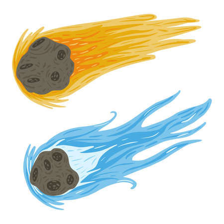 Set comet fly on white background. Meteor yellow and blue color in doodle vector illustration.