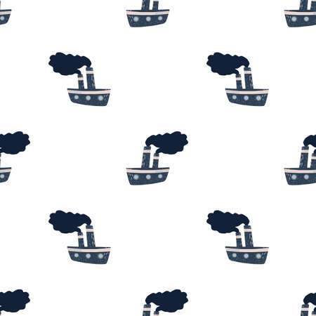 Isolated seamless doodle pattern with navy blue steamship silhouettes. White background. Flat vector print for textile, fabric, giftwrap, wallpapers. Endless illustration.