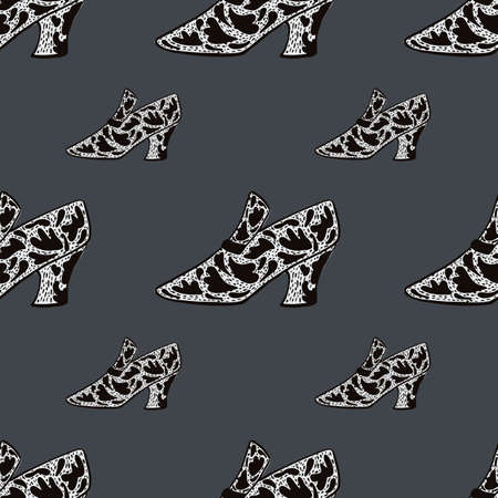 Seamless fashion pattern with womes shoes with black ornament print. Grey background. Vector illustration for seasonal textile prints, fabric, banners, backdrops and wallpapers.