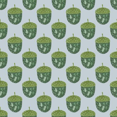 Green acorn doodle silhouettes seamless pattern. Light blue background. Nature print. Stock illustration. Vector design for textile, fabric, giftwrap, wallpapers. Vektorgrafik