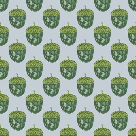 Green acorn doodle silhouettes seamless pattern. Light blue background. Nature print. Stock illustration. Vector design for textile, fabric, giftwrap, wallpapers. Vektorové ilustrace