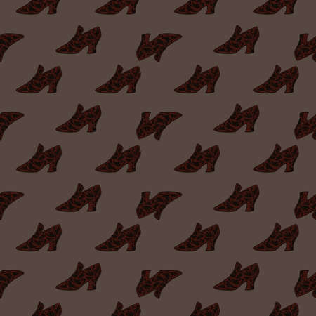 Abstract seamless acessory pattern with womes shoes little shapes. Brown palette artwork. Vector illustration for seasonal textile prints, fabric, banners, backdrops and wallpapers.
