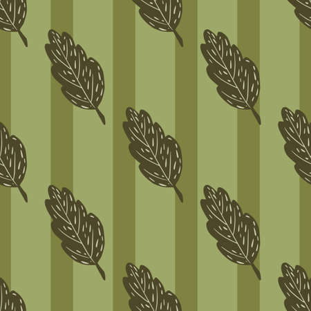 Autumn season seamless pattern with brown leaves print. Green pale striped background. Vector illustration for seasonal textile prints, fabric, banners, backdrops and wallpapers.