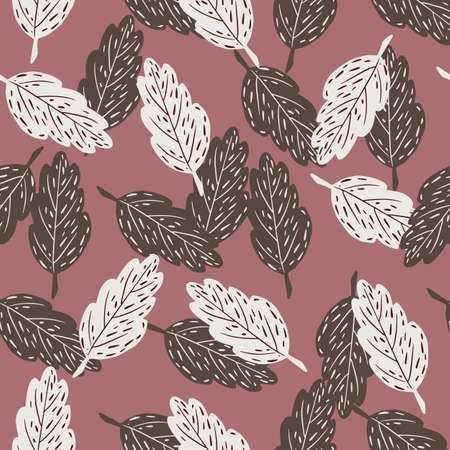 Fall season seamless nature pattern with contoured white and brown leaves on pale pink background. Vector illustration for seasonal textile prints, fabric, banners, backdrops and wallpapers.