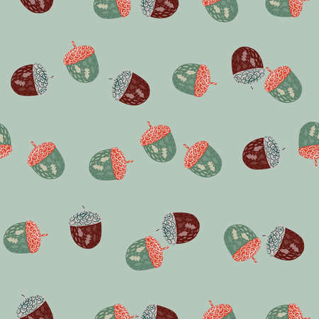 Simple seamless random pattern with little chestnut elements. Blue pastel background. Stock illustration. Vector design for textile, fabric, giftwrap, wallpapers. 矢量图像