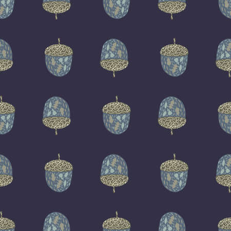 Seamless forest pattern with hand drawn chestnut ornament. Navy blue background. Stock illustration. Vector design for textile, fabric, giftwrap, wallpapers.