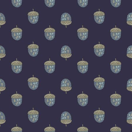Seamless patern with hand drawn little acorn silhouettes. Navy blue background. Stock illustration. Vector design for textile, fabric, giftwrap, wallpapers. 矢量图像