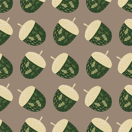 Decorative seamless pattern with simple green acorn silhouettes. Beige background. Stock illustration. Vector design for textile, fabric, giftwrap, wallpapers. 矢量图像