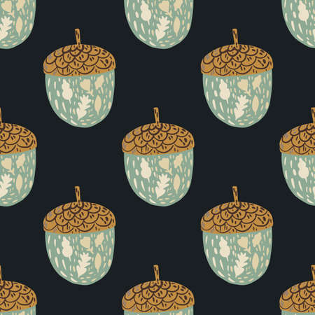 Organic seamless nature pattern with pale blue and brown acorn elements. Black background. Stock illustration. Vector design for textile, fabric, giftwrap, wallpapers.