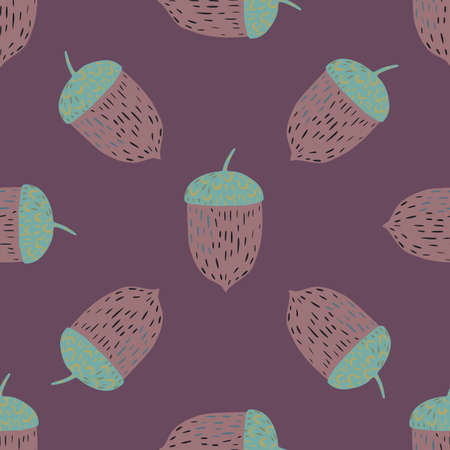 Dark simple seamless pattern with blue and pale pink colored chestnuts. Purple background. Graphic design for wrapping paper and fabric textures. Vector Illustration. Ilustração