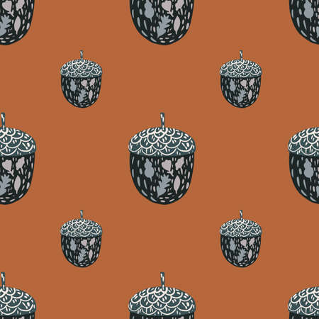 Minimalistic seamless pattern with navy blue chestnut elements. Coral brick background. Stock illustration. Vector design for textile, fabric, giftwrap, wallpapers. 矢量图像