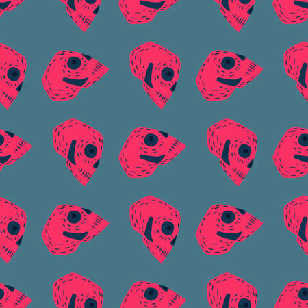 Contrast seamless pattern with scary pink ornament. Blue pale backround. Pirate backdrop. Stock illustration. Vector design for textile, fabric, giftwrap, wallpapers.