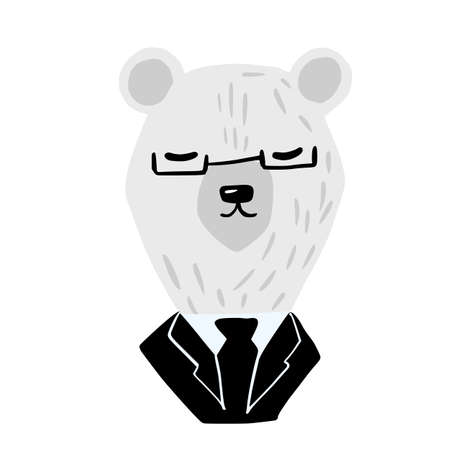 Head polar bear on white background. Cute character businessman in black suit and glass. Doodle vector illustration. 일러스트