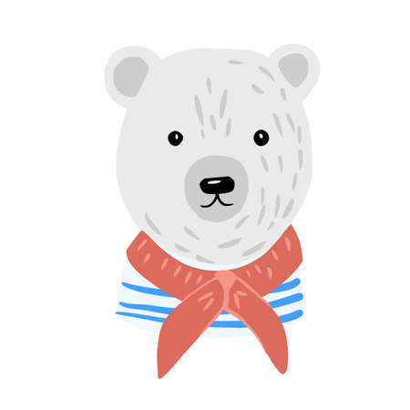 Head polar bear on white background. Cute character cabin boy in striped jacket and red scarf. Doodle vector illustration.