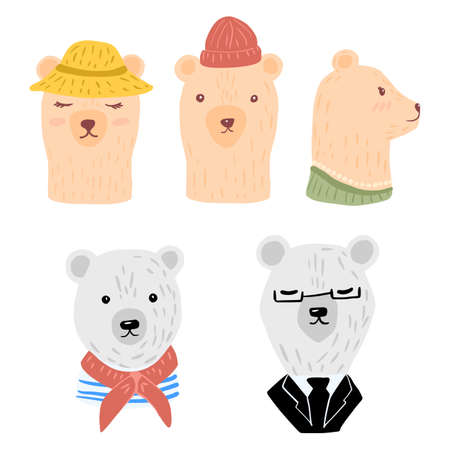 Set head polar and brown bears on white background. Cheerful character woman in hat and necklace, man with beanie, cabin boy and businessman. Doodle vector illustration. 일러스트