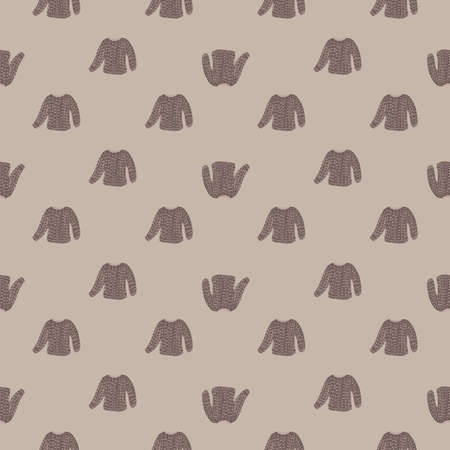 Pale tones seamless pattern with little knitted sweaters ornament. Grey colored background. Vector illustration for seasonal textile prints, fabric, banners, backdrops and wallpapers.