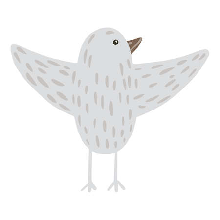 Bird flying isolated on white background. Cute simple character gray color in doodle style vector illustration.
