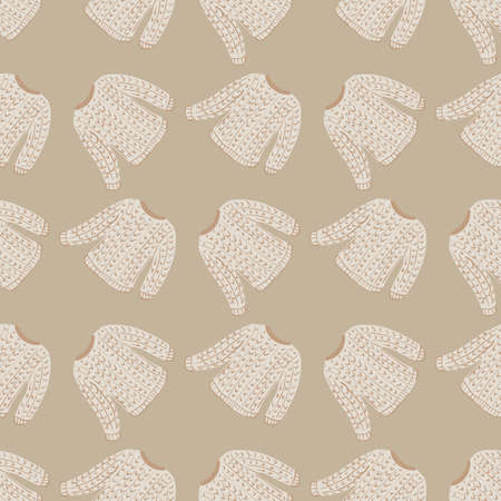 Vintage seamless pattern with light tones sweater cozy print. Beige pastel background. Vector illustration for seasonal textile prints, fabric, banners, backdrops and wallpapers.