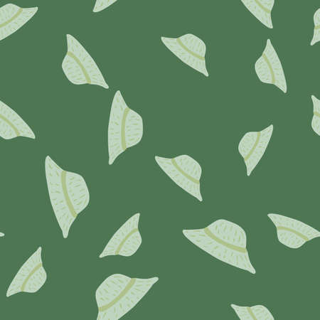 Decorative seamless pattern with random light grey silhouettes. Green olive background. Graphic design for wrapping paper and fabric textures. Vector Illustration.