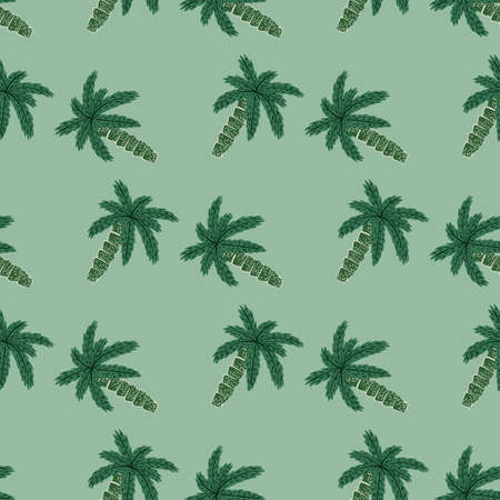 Seamless exotic nature pattern with doodle palm tree ornament in green tones on pale background. Flat vector print for textile, fabric, giftwrap, wallpapers. Endless illustration.
