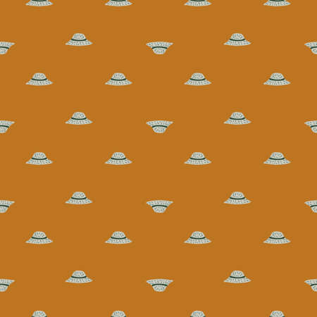 Little hand drawn panama seamless pattern in doodle style. Light brown background. Creative accessory print. Vector Illustration.