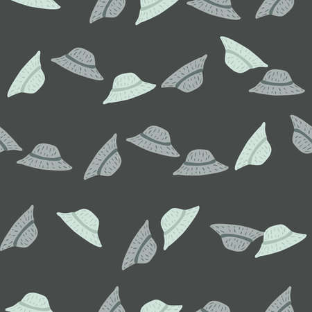 Cartoon seamless accessory pattern with simple panamas print. Dark grey background. Doodle backdrop. Graphic design for wrapping paper and fabric textures. Vector Illustration.