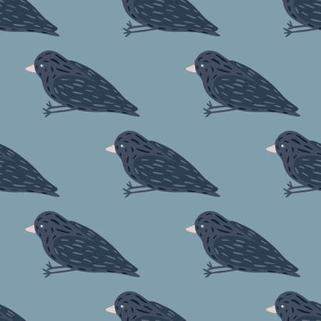 Blue palette seamless pattern with simple birds ornament. Cartoon animal flying print. Vector illustration for seasonal textile prints, fabric, banners, backdrops and wallpapers.