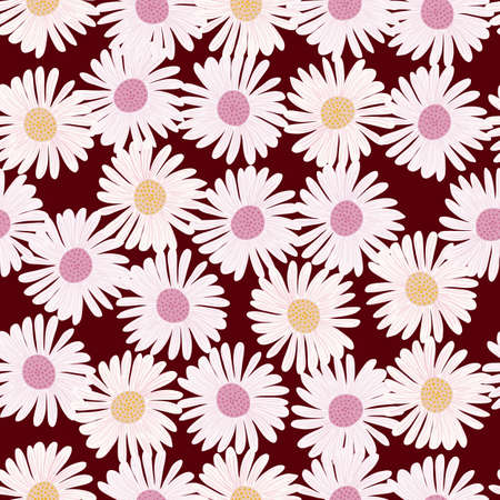 Seamless random pattern with white vintage daisy flowers ornament. Maroon background. Botanic field print. Flat vector print for textile, fabric, giftwrap, wallpapers. Endless illustration. Vector Illustration