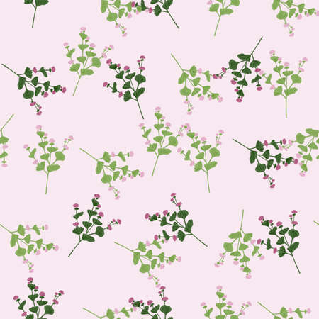 Seamless random pattern with doodle green wildflowers ornament print. Light pink pastel background. Graphic design for wrapping paper and fabric textures. Vector Illustration.