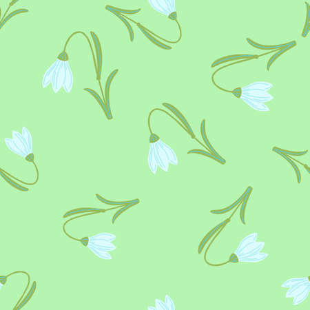 Light green colored random harebell flowers shapes. Seamless pattern in doodle hand drawn stylistic.
