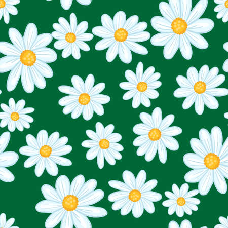 Summer season seamless pattern with light blue random daisy flowers print. Green bright background. Stock illustration. Vector design for textile, fabric, giftwrap, wallpapers. Vector Illustration