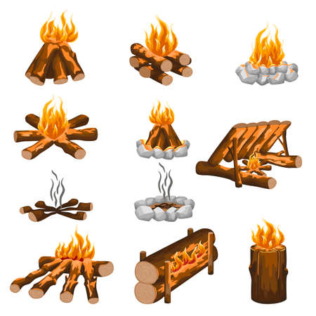 Set campfire isolated in flat style on white background. Different kind campfire hiking, wooden fire, stone fireplace. Cartoon vector illustration for any purpose.
