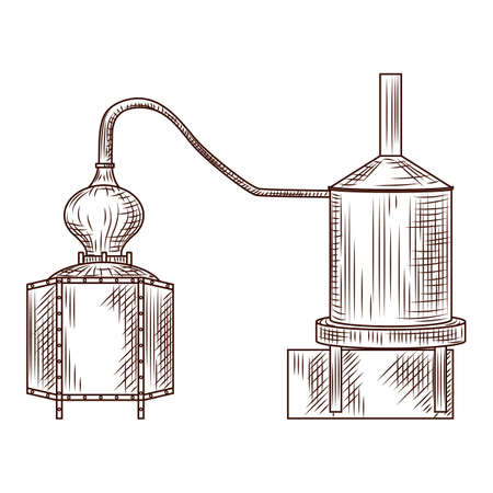 Alembic engraved style isolated on white background. Vintage sketch outline close up. Vector illustration design Vecteurs