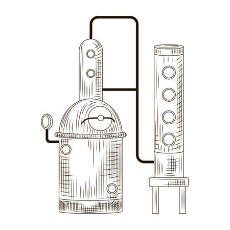 Alembic schnapps engraved style isolated on white background. Vintage sketch black outline close up. Vector illustration design