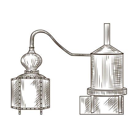 Alembic pisco engraved style isolated on white background. Vintage sketch black outline close up. Vector illustration design Vecteurs
