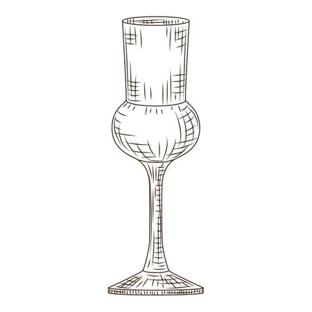 Empty glass schnapps engraved style isolated on white background. Vintage sketch black outline close up. Vector illustration design.