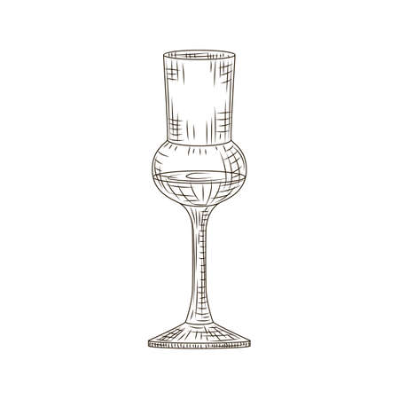 Full glass schnapps engraved style isolated on white background. Vintage sketch black outline close up. Vector illustration design