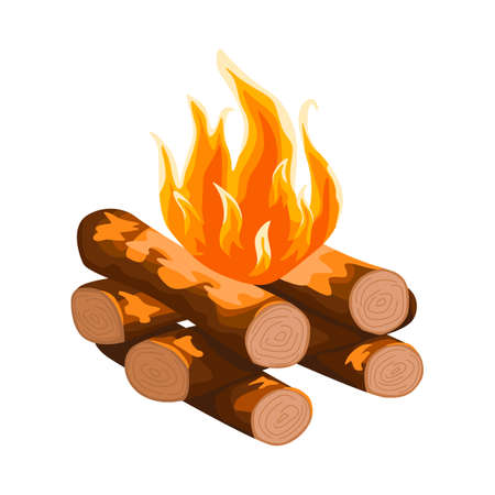Log cabin campfire isolated on white background. Hiking fireplace in flat style. Cartoon vector illustration for any purpose. Vektoros illusztráció