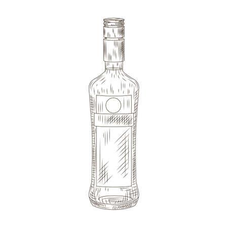 Bottle schnapps isolated on white background. Bottle in engraved style. Vintage sketch black outline close up. Vector illustration design.