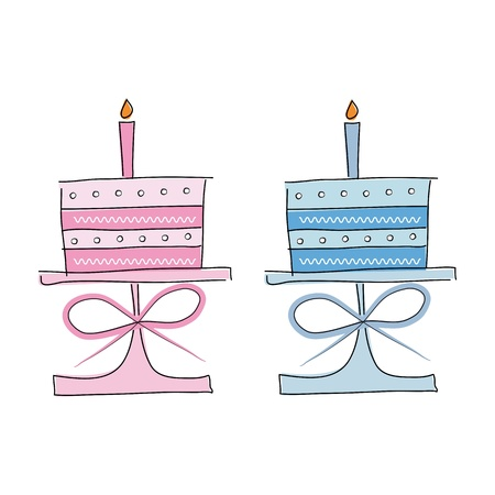 layer cake: Birthday cakes Illustration