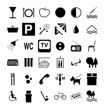 pensioen: Hotel symbolen Stock Illustratie