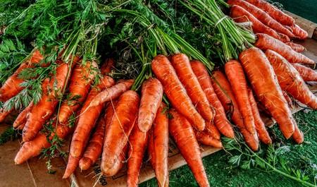 Beautiful orange Carrots display. Stock fotó
