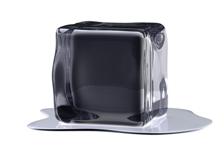 Black icecube in water and white background Stock Photo - 9969679