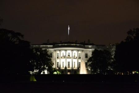 深夜にホワイト ・ ハウス 写真素材