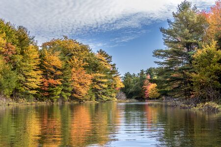 pretty fall colours at the lake in Ontario, Canada